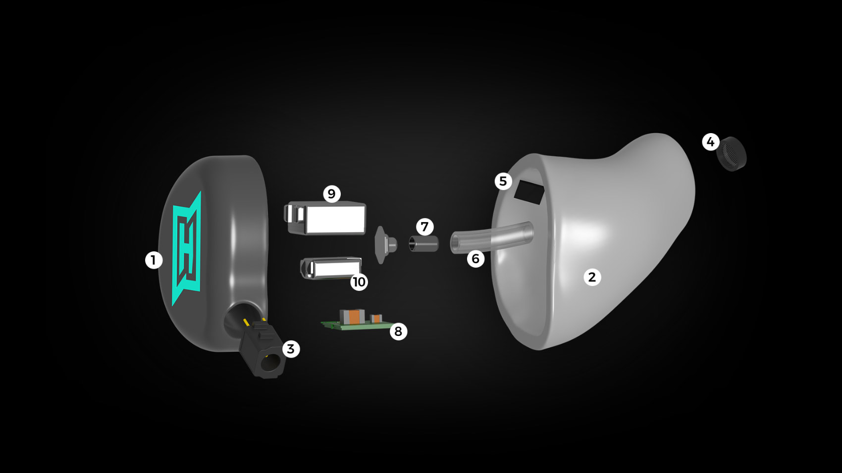 Aufbau eines HEAROS Boom 2 mit all seinen technischen Komponenten.